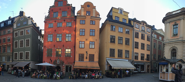 The colourful buildings in Gamla Stan
