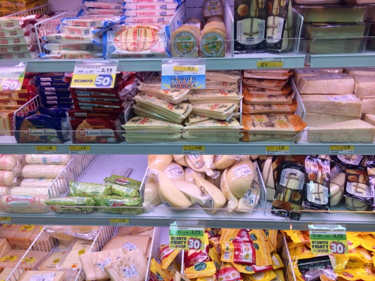 Cheeses in one of Milan's Esselunga supermarket
