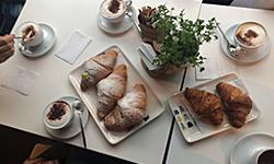 Breakfast 'brioche' and cappuccinos at My Cake Café