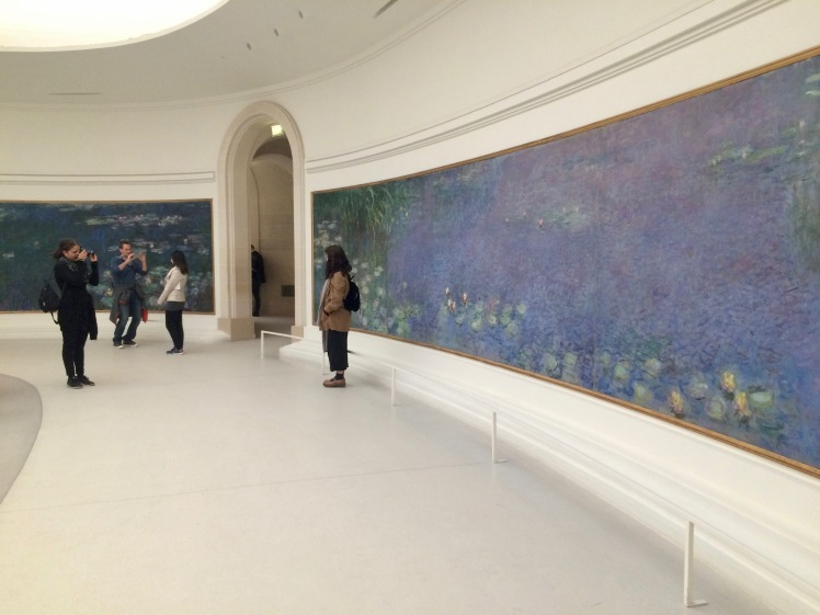 The famous water lillies by Claude Monet, on display at Musée de l'Orangerie