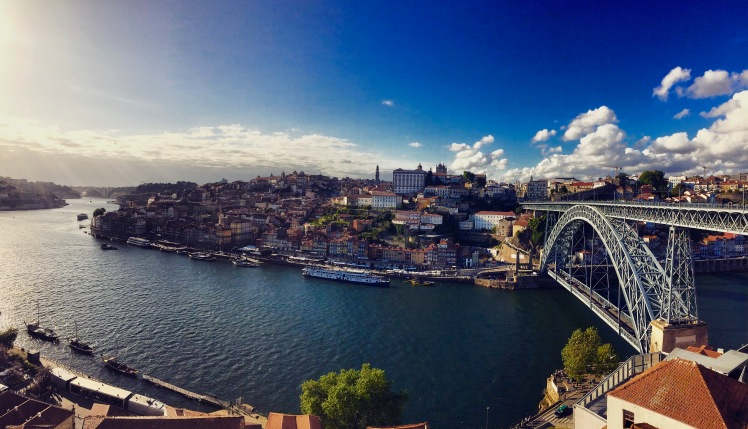 Overlooking the Douro river from Vila Nova da Gaia waterfront
