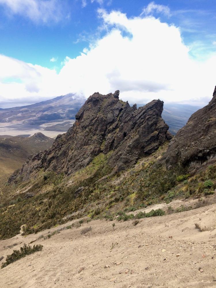 Preparing for the descent on Rumiñahui volcano