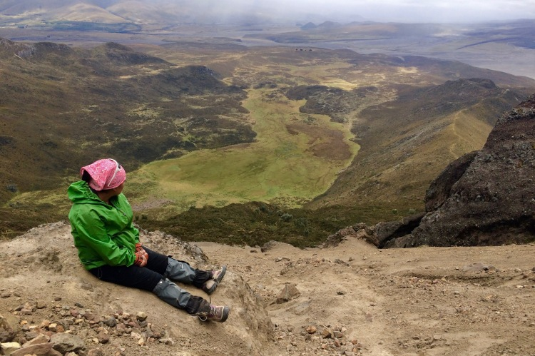 The view from Rumiñahui volcano with one of our walking guides