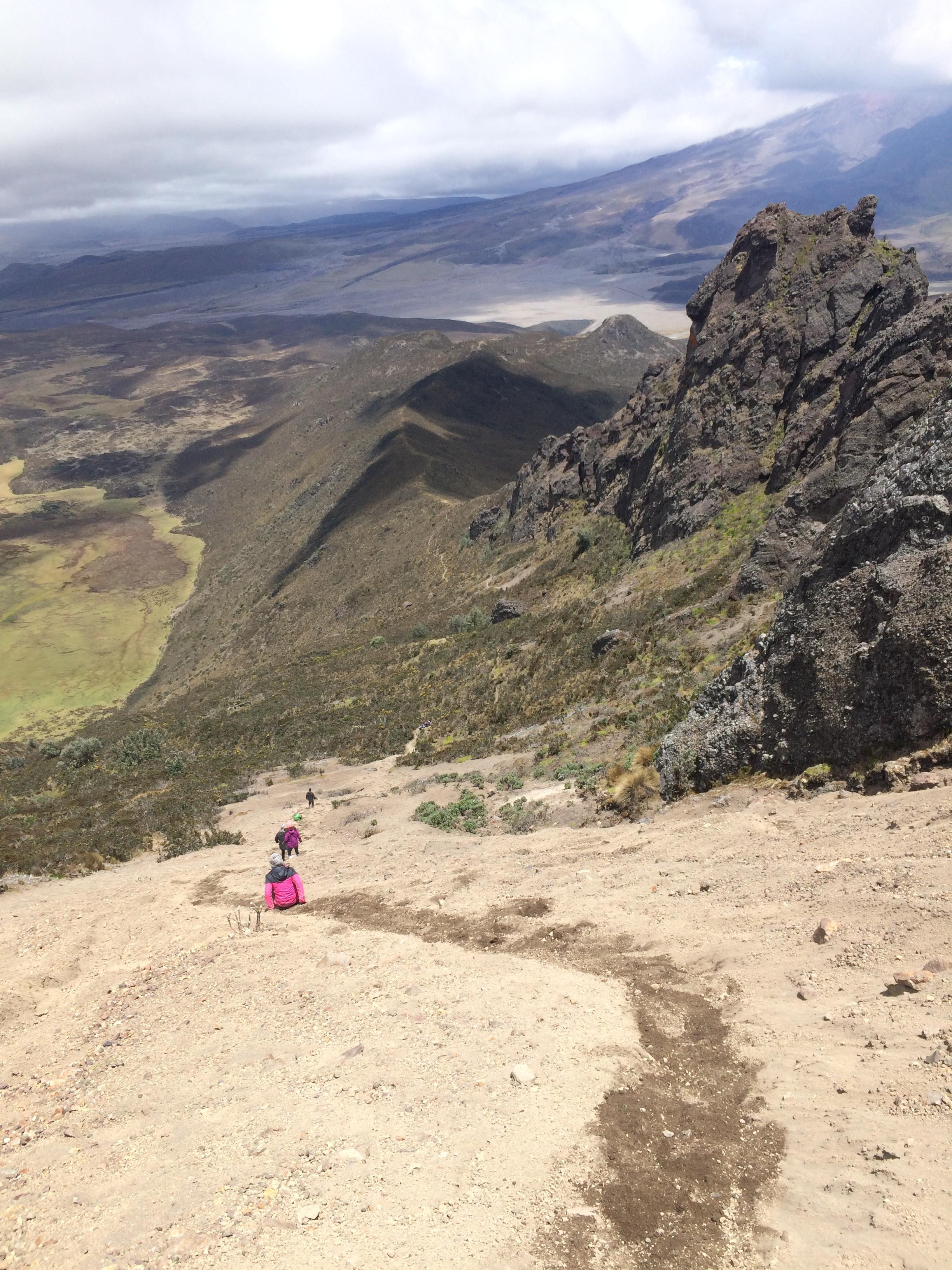 Sliding down Rumiñahui volcano