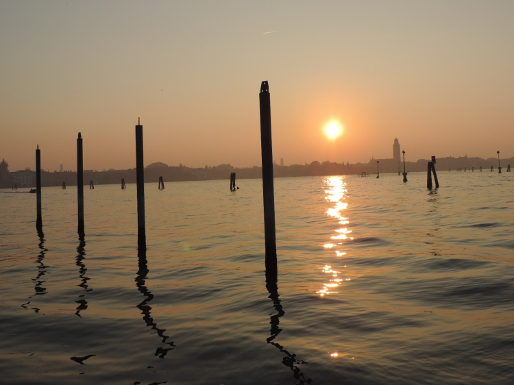 Sunset over Venice from the island of San Michele
