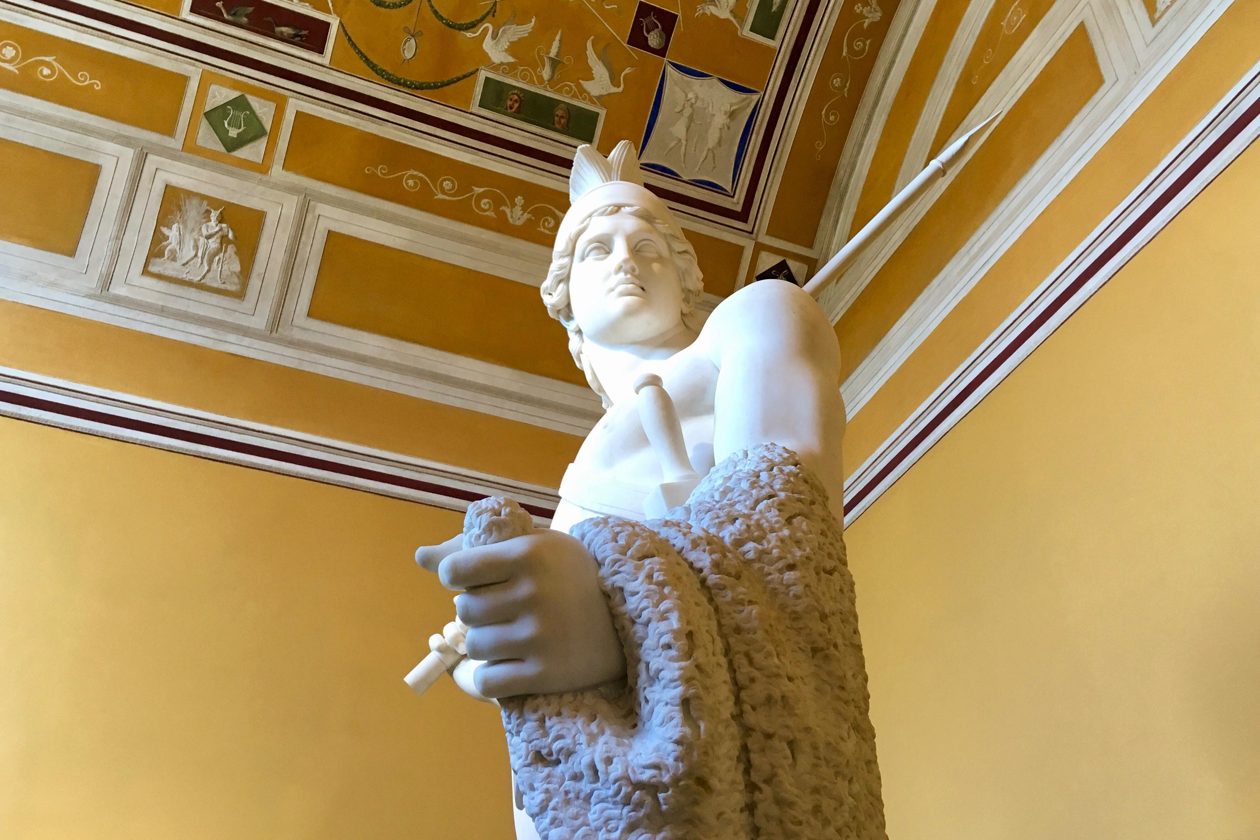 A sculpture of Jason and his golden fleece inside the Thorvaldsens Museum