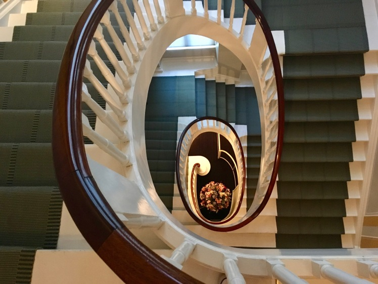 The stairs inside The David Collection museum in Copenhagen, Denmark