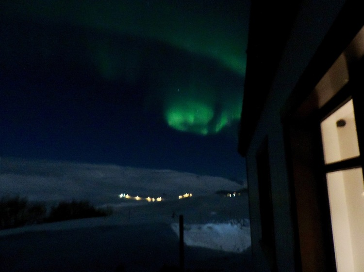 Northern lights show as viewed from the door of our farmhouse