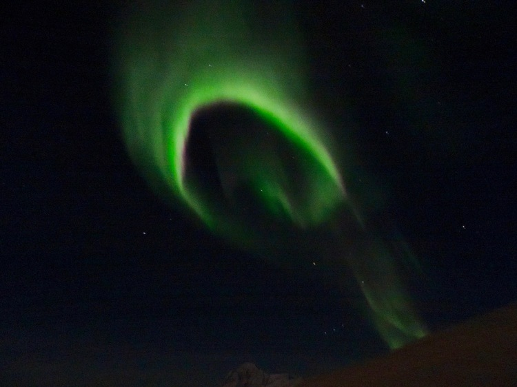 The sight of northern lights from our farmhouse near Akureyri in northern Iceland.