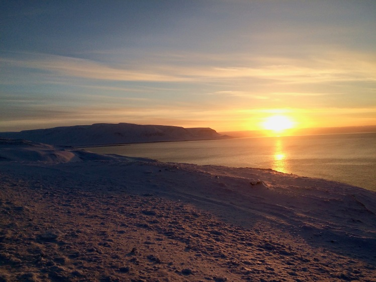 Sunset on a peninsula in northern Iceland, near the Arctic Circle