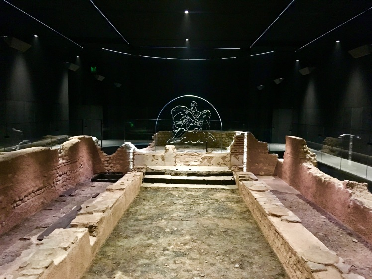 The ruins of the Temple of Mithras on display at the Bloomberg SPACE