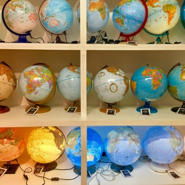The globes on display in Stanfords, the world's biggest travel bookshop