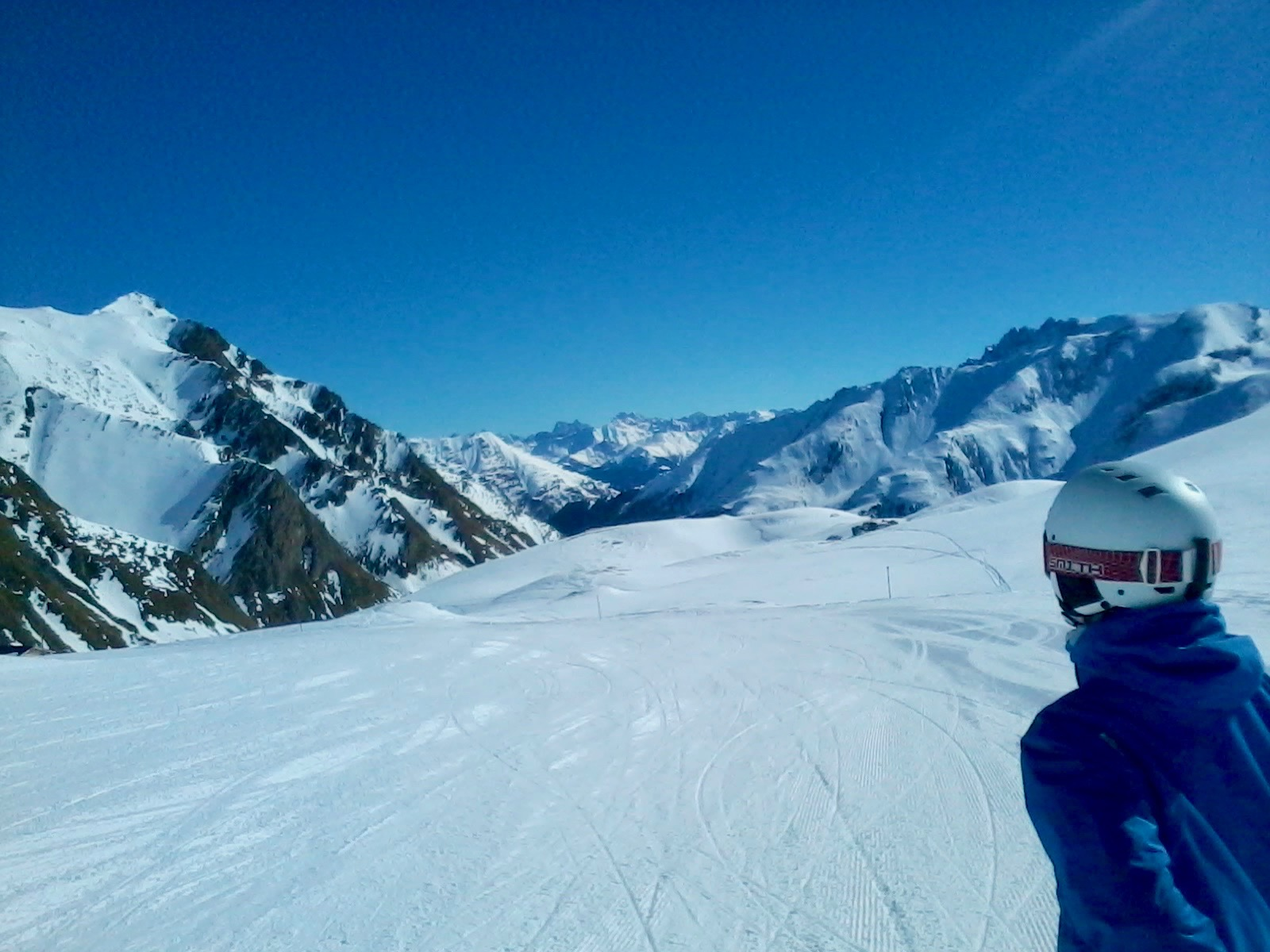 The scene before us as we skied on the Smuggler's Run between Ischgl and Samnaun