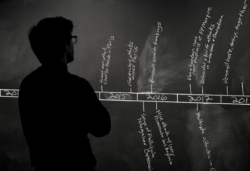 A blackboard featuring a timeline of events, part of Aman Mojadidi: Remembering a Future