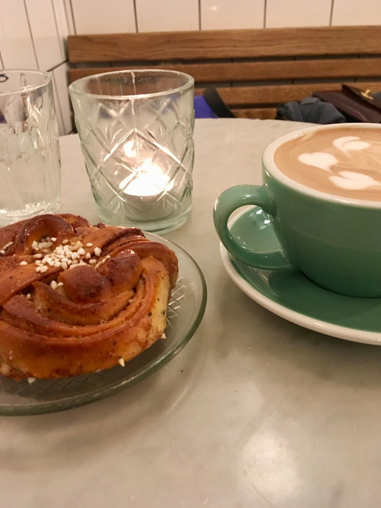Cinnamon bun and mocha at Fabrique in Stockholm