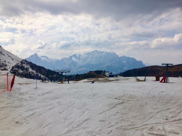 Piani di Bobbio piste at the end of the 2017 ski season