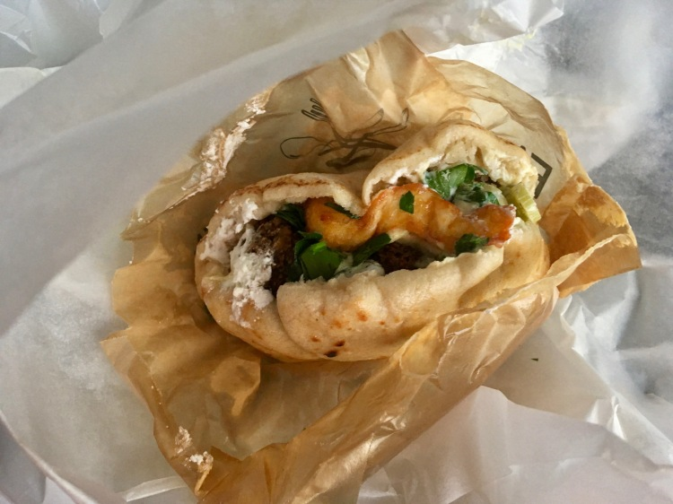 A double cheese falafel pita from Falafelbaren