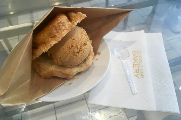 A Dominique Ansel creation, filled with salted caramel ice cream