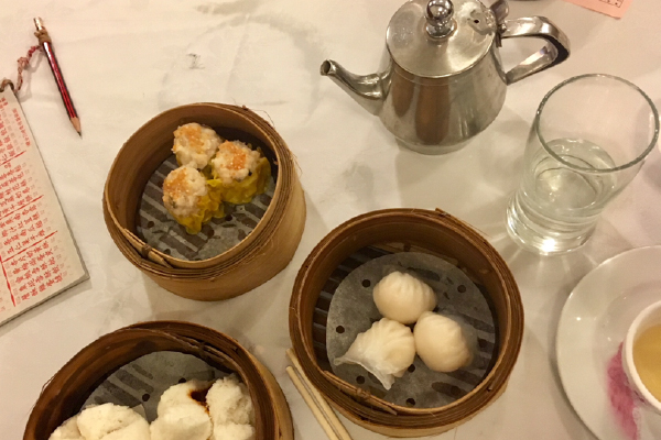Eating Dim Sum in a restaurant in Hong Kong