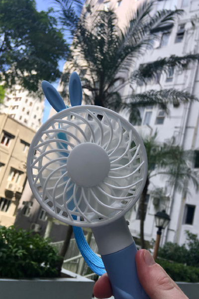 My electric hand held fan in Hong Kong