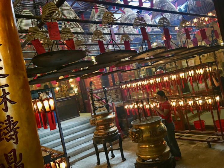 Inside Man Mo Temple in Hong Kong