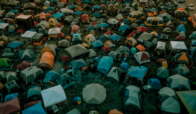 A field filled with tents