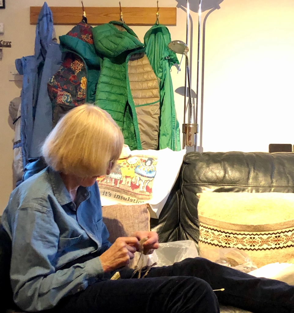 My mum knitting