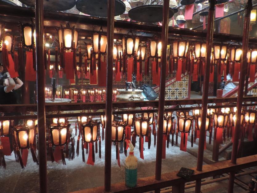 Lanterns inside the Man Mo Temple