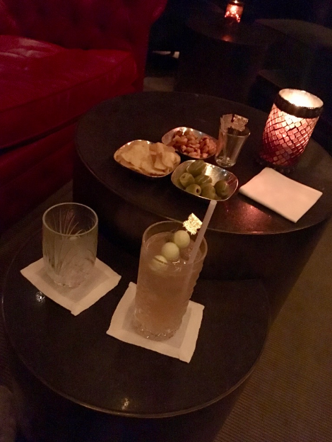 Cocktail and snacks in one of the Peninsula's bars