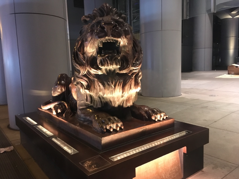 Stephen the Lion at night