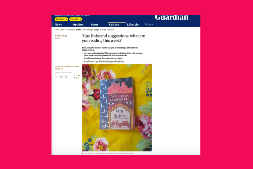 Screenshot of The Guardian website Books Blog