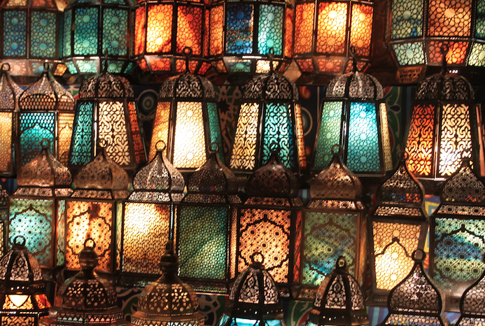 Rows of lamps in a souk