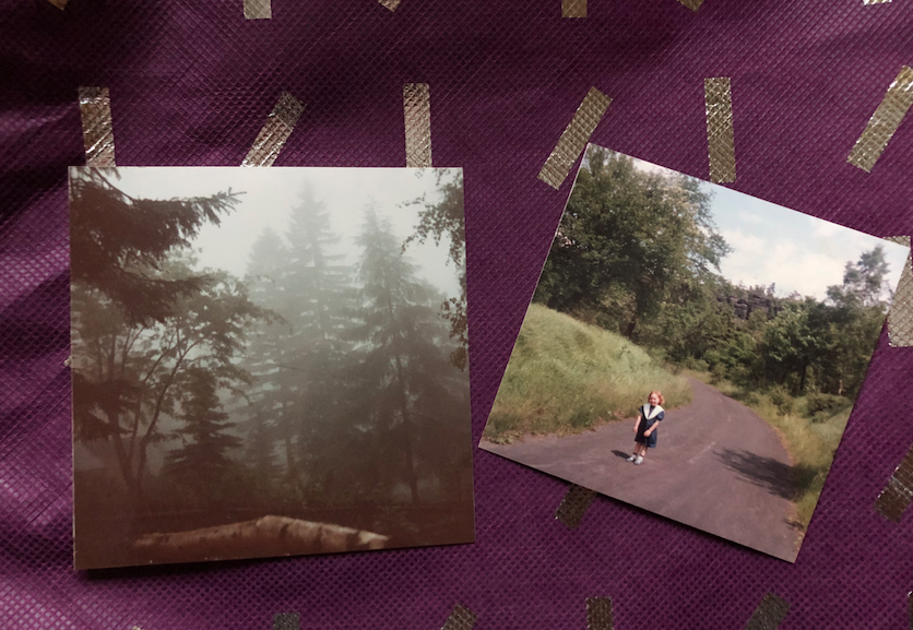 A picture featuring two photos from 1991, one of the forest of Waldidylle and the other of me standing on the Germany Czechoslovakia border
