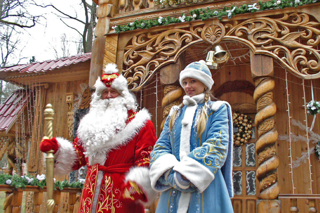 Ded Moroz, or Grandfather Frost, and his granddaughter Snegurochka