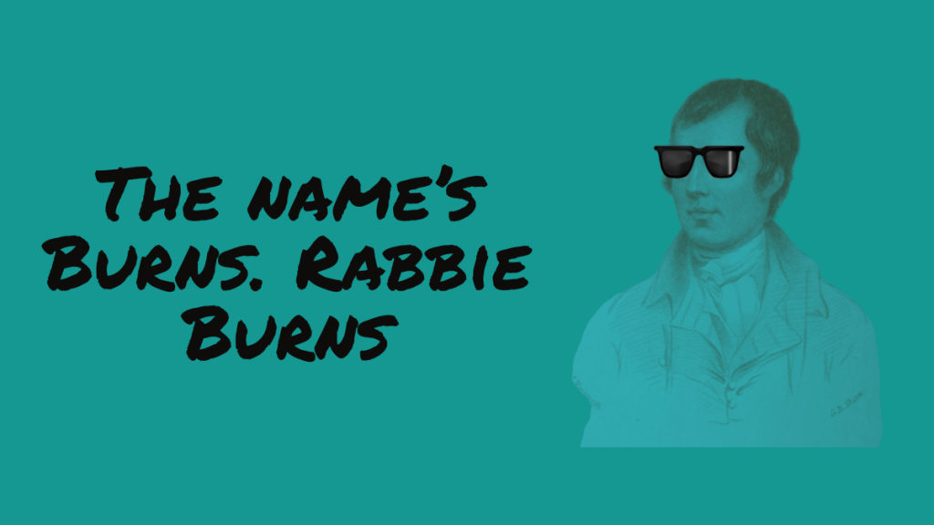 A graphic featuring Burns wearing sunglasses
