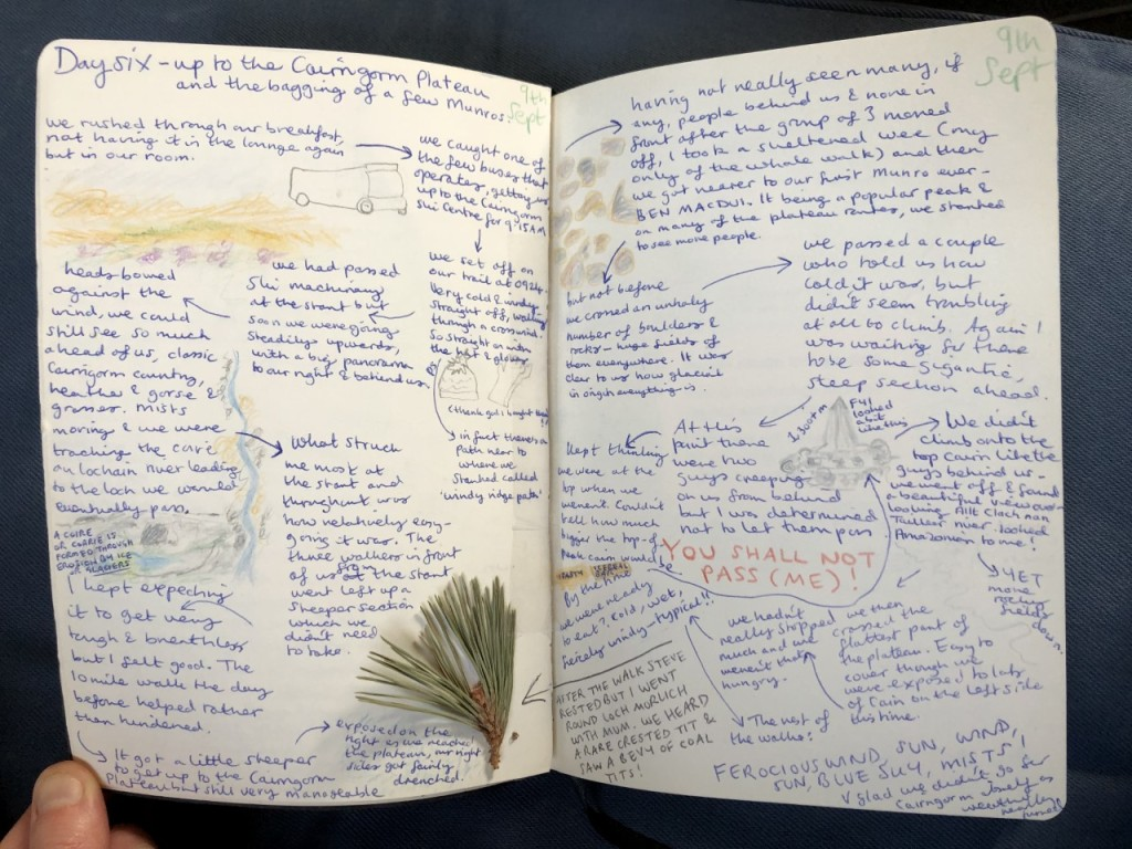 Pages from my diary featuring the day hike on the Cairngorm Plateau