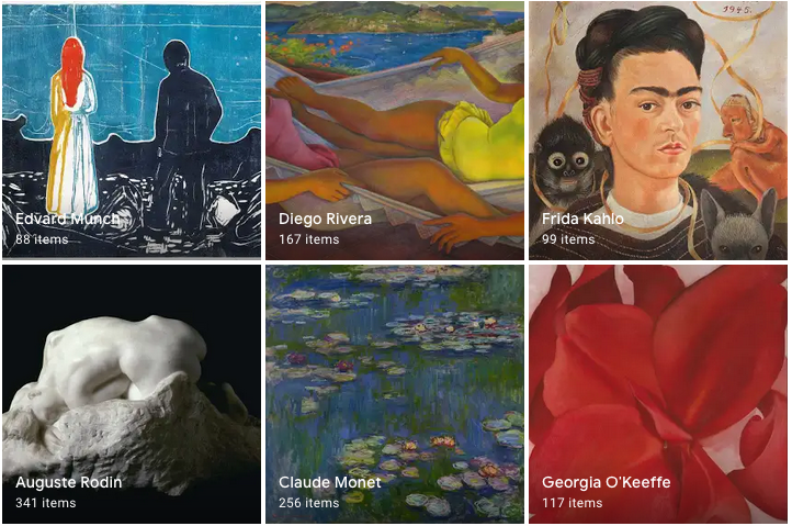 Screenshot from the Google arts & culture hub