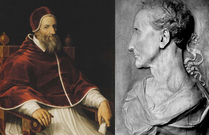 A portrait of Pope Gregory XIII and a bust of Julius Caesar