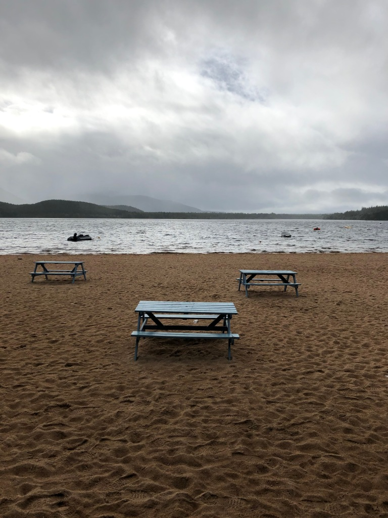 Picnic tables at Loch Morlich