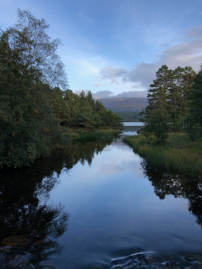 The end of the River Luineag as it spills into Loch Morlich