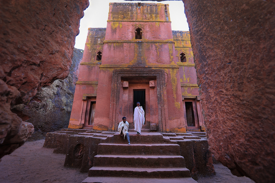 A church built into the rock in Lalibela, Ethiopia