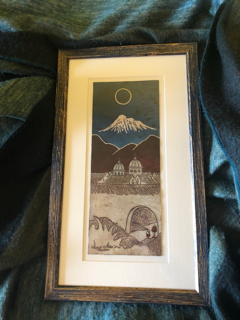Painting featuring Cotopaxi volcano and Quito