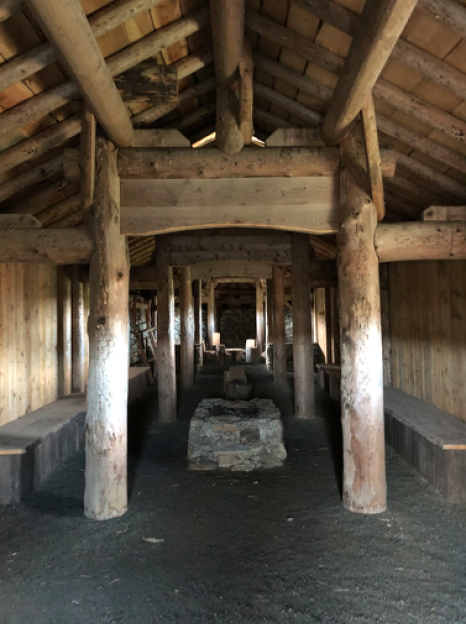 Inside the replica longhouse