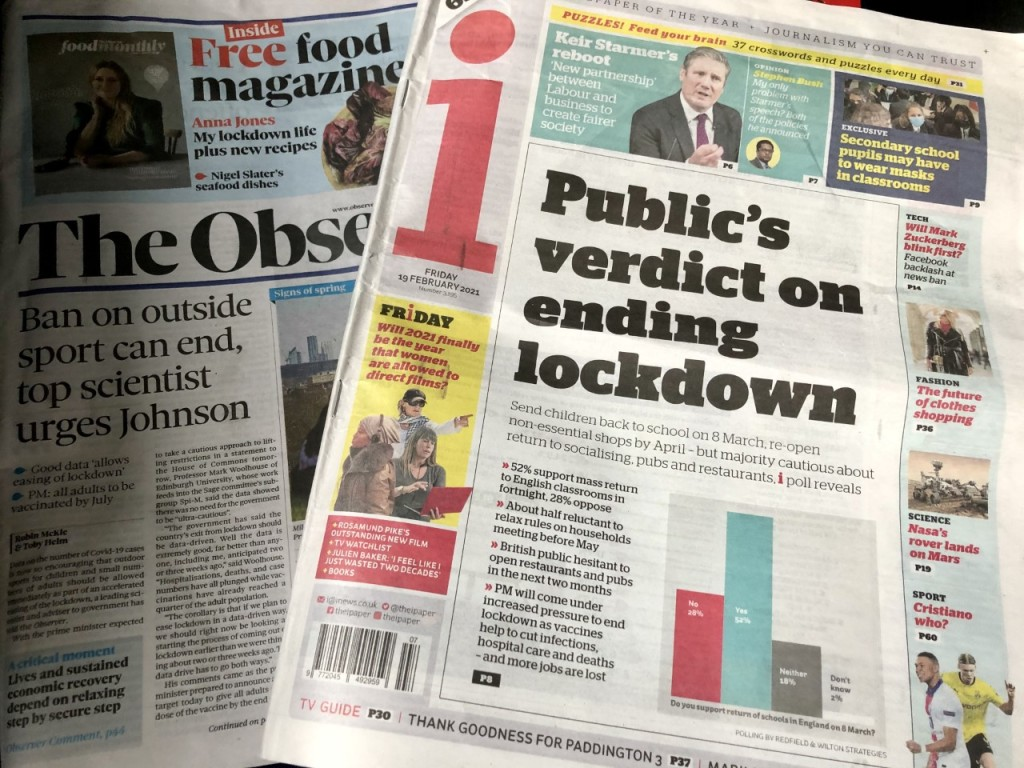 Sunday's issue of The Observer and Friday's issue of i paper