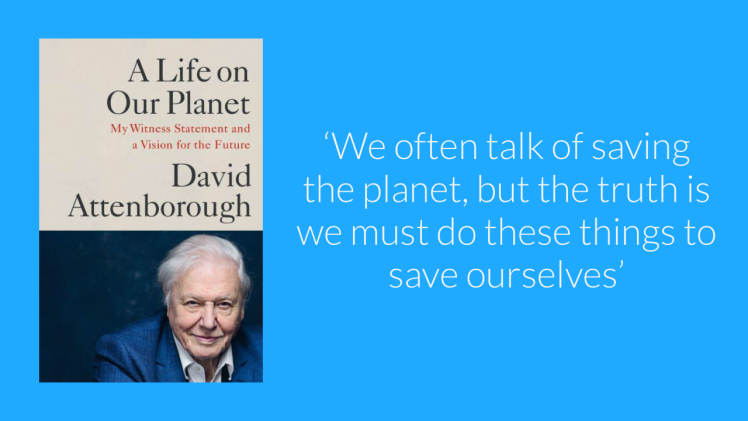 Graphic featuring David Attenborough's book and a quote