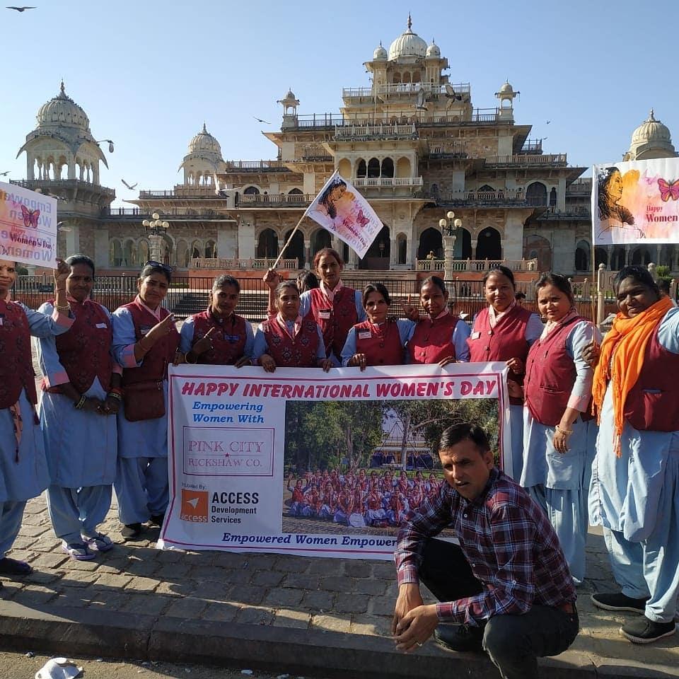 Women from the Pink City Rickshaw Company celebrating International Women's Day 2020