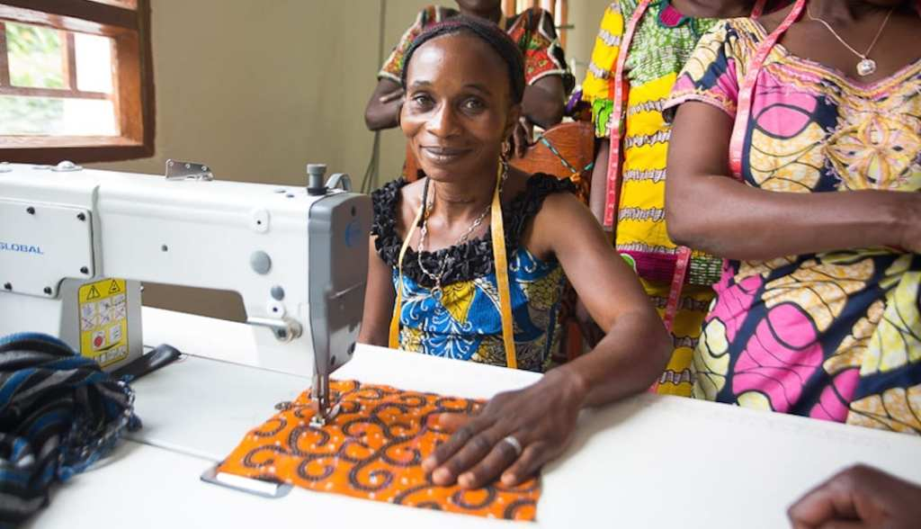 A woman at her sewing machine
