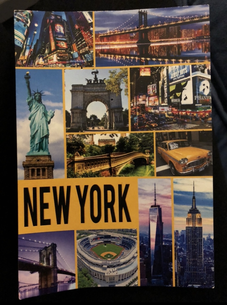 The most 'New York' New York postcard I could find, featuring 'iconic scenes and landmarks'