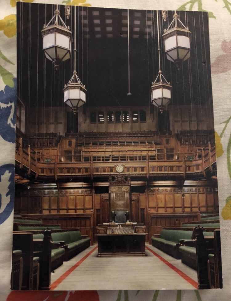 I postcard bought during a tour of the Houses of Parliament
