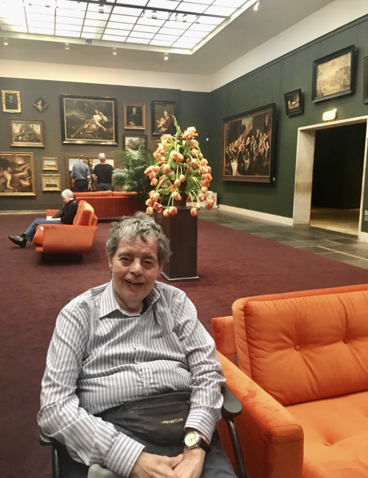Dad in an art gallery in Amsterdam